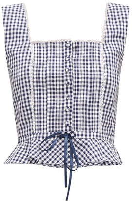 Batsheva Amy Sleeveless Gingham-print Cotton Top - Blue White