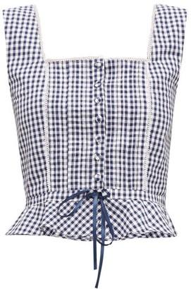 Batsheva Amy Sleeveless Gingham-print Cotton Top - Womens - Blue White