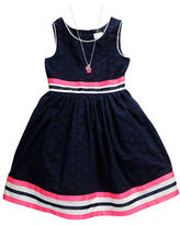 Sweet Heart Rose Sweetheart Rose Girls 2-6x Striped Fit-and-Flare Dress and Necklace Set