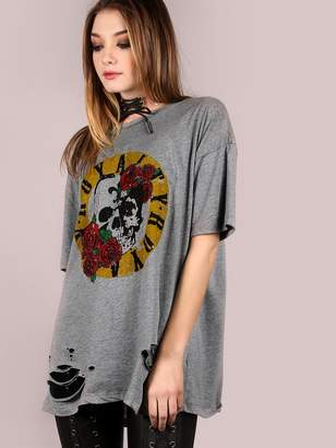Romwe Oversized Burn Out Royalty Graphic Tee BLACK