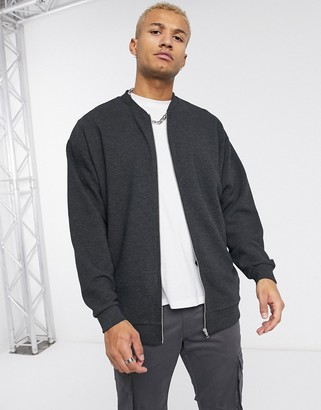 ASOS DESIGN longline oversized jersey bomber jacket in charcoal ribbed fabric