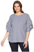 Karen Kane Plus Plus Size Gingham Ruffle Sleeve Top Women's Clothing
