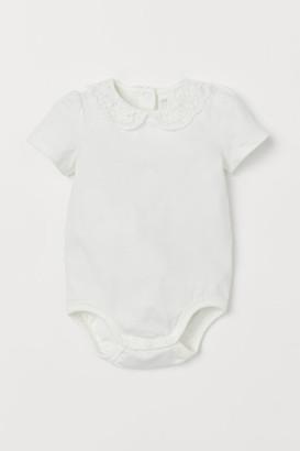 H&M Lace-collared Bodysuit - White