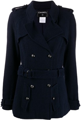Chanel Pre Owned Belted Trench Jacket