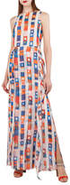 Akris Superstripe Sleeveless Silk Crepe Gown