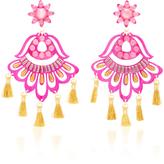 Mercedes Salazar Fiesta Pink and Gold-Tone Drop Tassel Earrings