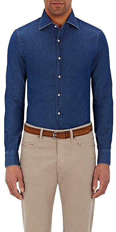 Isaia Men's Twill Button-Front Shirt