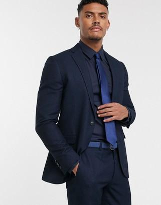 Topman skinny suit jacket in navy