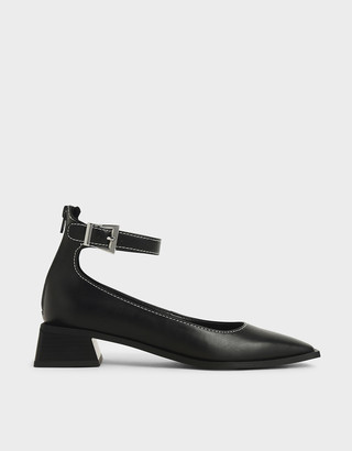 Charles & Keith Textured Ankle Strap Square Toe Pumps