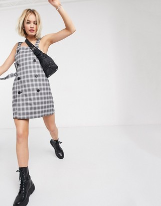 Monki check tie side pinafore dress