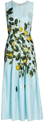 Oscar de la Renta Citrus Primavera Sleeveless Silk Midi Day Dress