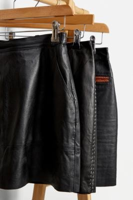 Urban Renewal Vintage Black Leather Mini Skirt - Black XS at Urban Outfitters
