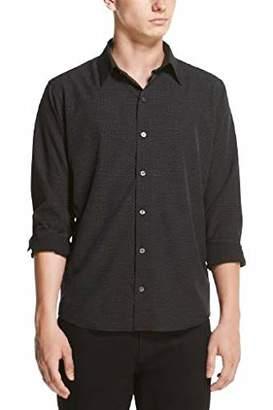 DKNY Men's Printed Long Sleeve Tech Button Down Shirt