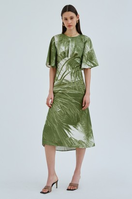 C/Meo CONTRASTING SHORT SLEEVE DRESS Olive Palm