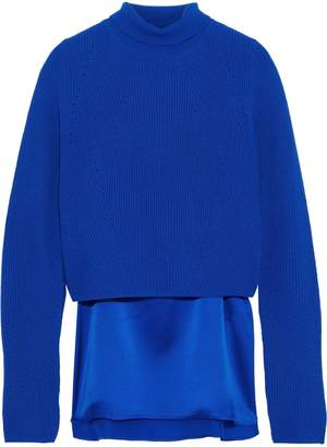 Elie Tahari Casper Layered Cashmere And Silk-satin Turtleneck Sweater
