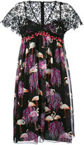 Giamba flamingo print V-neck dress - women - Silk/Cotton/Polyester - 40