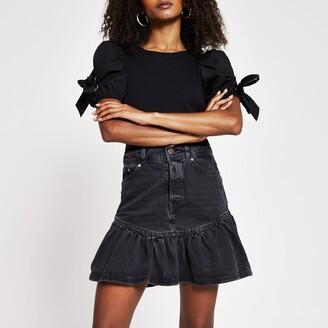 River Island Womens Black denim frill hem mini skirt