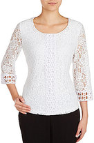 Allison Daley Petites 3/4 Sleeve Floral Lace Top