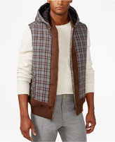 Sean John Men's Quilted Check-Print Hooded Vest