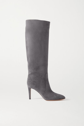 Gianvito Rossi 85 Suede Knee Boots - Dark gray
