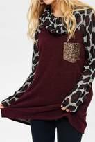 Lovely J Leopard Cowl Neck