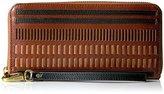 Fossil Emma Rfid Large Zip Wallet-Brown Multi