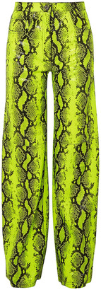 Off WhiteTM Off-white Neon Snake-effect Leather Straight-leg Pants