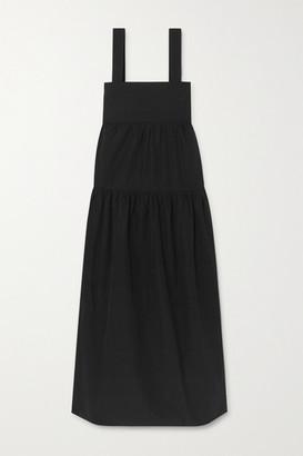 Three Graces London Cosette Tiered Cotton-poplin Maxi Dress - Black