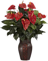 Asstd National Brand Nearly Natural Anthurium Silk Plant with Vase
