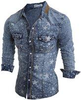 uxcell® Men Point Collar Stars Pattern Long Sleeves Denim Shirt S Light Blue
