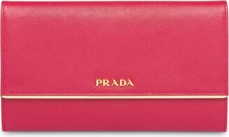 Prada Logo-Plaque Flap Wallet