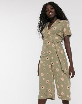 Glamorous tie waist floral jumpsuit