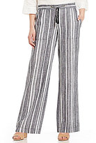 Jones New York Hampton Stripe Linen-Blend Drawstring Pants