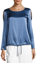 Lafayette 148 New York Maxina Long-Sleeve Cold-Shoulder Silk Charmeuse Blouse, Medium Blue