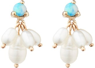 WWAKE 14kt yellow gold Cloudburst opal and pearl earrings