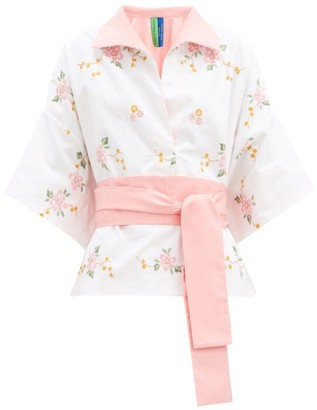 RIANNA + NINA Kendima Floral-embroidered Cotton Shirt - White Multi