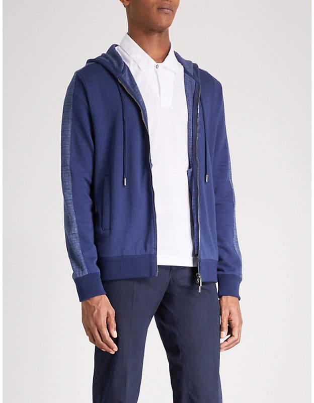 Canali Side-stripe cotton-jersey hoody