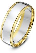 Theia Unisex Court Shape 9 ct Yellow and White Gold Wedding Ring - Size H