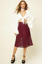 Forever 21 FOREVER 21+ Floral Lace Midi Skirt