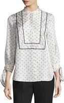 3.1 Phillip Lim Scarf-Print Silk Tie-Cuff Blouse, Ivory