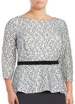 Alex Evenings Plus Three Quarter Sleeve Sequined Lace Peplum Blouse