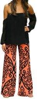 Fashion Story Women Fold Over Waist Baggy Bohemian Harem Wide Leg Palazzo Pants Smocked