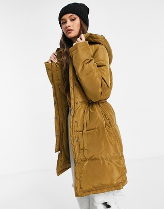 NA-KD padded waisted parka in olive