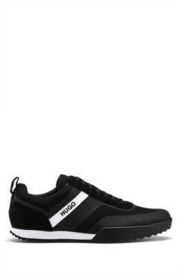HUGO BOSS Low-top lace-up trainers in mesh and suede leather