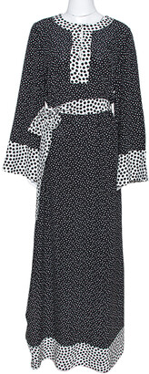 Dolce & Gabbana Monochrome Polka Dot Silk Belted Maxi Dress S