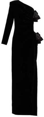 Saint Laurent One-shoulder Velvet Gown - Black