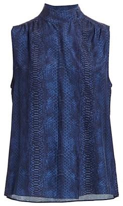 Frame Snake Print Cravat Collar Sleeveless Silk Blouse
