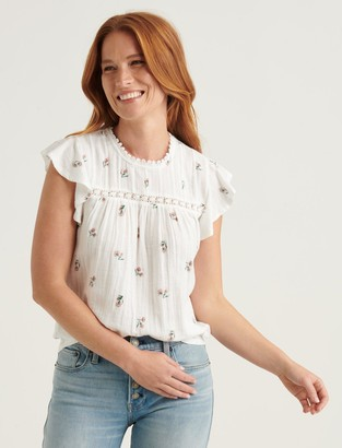 Lucky Brand Woven Mix Sleeveless Top