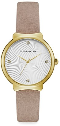 BCBGMAXAZRIA Classic Goldtone Stainless Steel Leather-Strap Watch