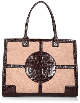 Tory Burch Ella Croc-Embossed Leather & Felt Tote